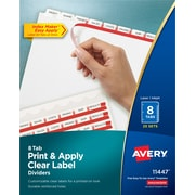 Avery Index Maker Clear Label 8-Tab Dividers, White, 25/Box (11447)