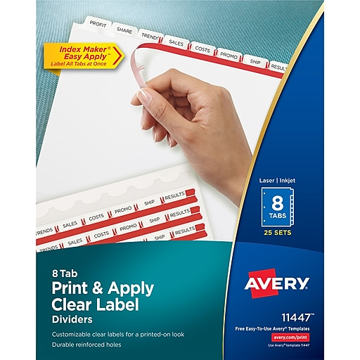 Avery Index Maker Clear Label Tab Dividers 8 Tab White 25 Sets