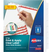 Avery Print & Apply Clear Label Extra-Wide Dividers, Index Maker Easy Apply Printable Label Strip, 8 White Tabs, 5 Sets (11441)