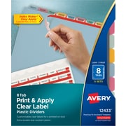 "Avery® Index Maker® Clear Label Plastic Dividers, 8 Tab, Multicolor, 8 1/2"" x 11"", 5 Sets/Pk"