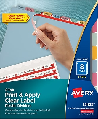 Avery® Index Maker® Clear Label Plastic Dividers, 8 Tab, Multicolor, 8 1/2