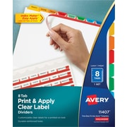 Avery® Index Maker® Clear-Label Dividers, Primary Multi-Color Tabs, 8 Tabs