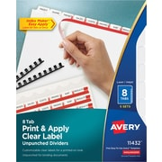 Avery® Index Maker® Clear Label Laser and Inkjet Dividers, Unpunched, 8 Tabs, 5 Sets/Box