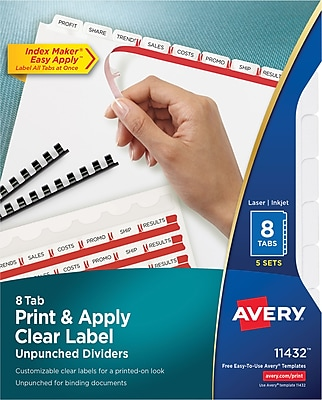Avery® Index Maker® Print and Apply Clear Label Laser and Inkjet Dividers, Unpunched, 8-Tab, 5 Sets/Box (11432)