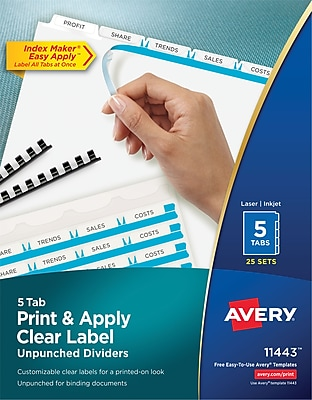Avery Index Maker Unpunched White Dividers, 5-Tab, 25/Box (11443)
