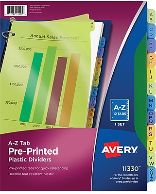 Avery® Preprinted Alphabetical Plastic Tab Dividers, A-Z, Multicolor
