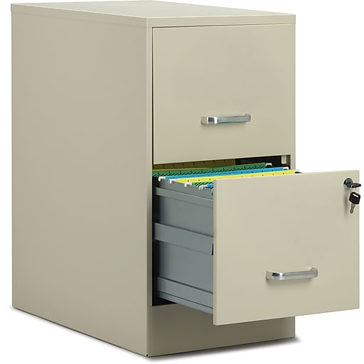"Staples 2-Drawer Vertical File Cabinet, Putty, Letter, 22"" D (52146)"