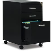 "Staples 3-Drawer Vertical Mobile File Cabinet, Black, Letter, 19"" D (52156)"