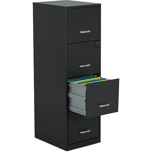 """Staples 4-Drawer Vertical File Cabinet, Charcoal, Letter, 18"""" D (52148)"""