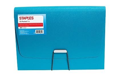 Staples Plastic 13 Pocket Reinforced Expanding Folder, Letter Size, Teal (52017-CC)