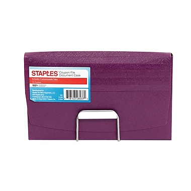 Staples 13 Pocket Expanding File Folder with Document Case, Coupon, Assorted (51804)