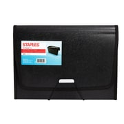 Staples 13 Pocket Expanding File Folder with Document Case, Letter, Black (51819)