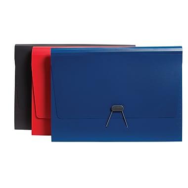 Staples® Plastic Expandable 7-Pocket File, Letter Size, Blue/Red/Grey