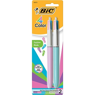 BIC® 4-Color Ballpoint Retractable Pen, Medium Point, 1.0 mm, Assorted Ink / Green and White Barrels, 2/Pk