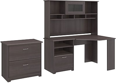 Bush Furniture Cabot Corner Desk with Hutch and Lateral File Cabinet, Heather Gray (CAB007HRG)
