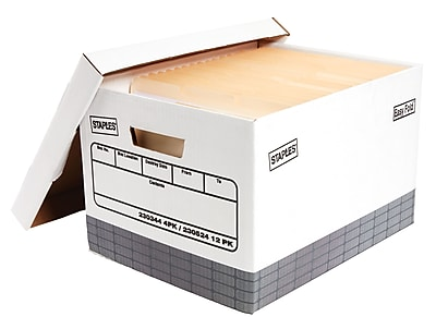 Staples Corrugated Boxes, Letter/Legal Size, White/Gray, 4/Carton (2522301)