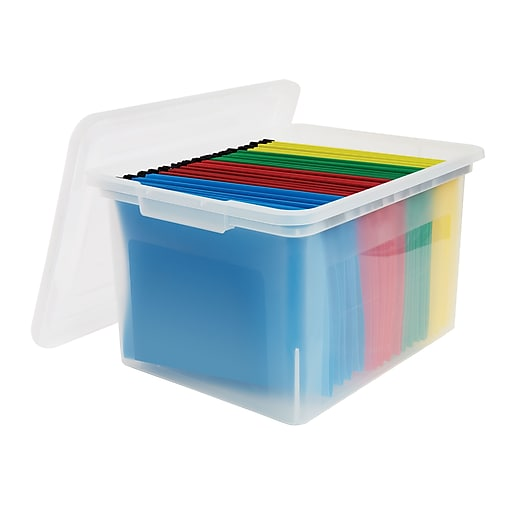 Staples Plastic File Box, Letter/Legal Size, Clear (140050)