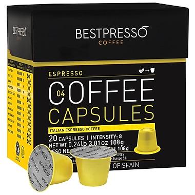 Bestpresso® Compatible Nespresso® Pods, Espresso Blend, Light Intensity, 20 Capsules per Box (BEST-04ESPR])