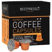 Bestpresso® Compatible Nespresso® Pods, Ristretto Blend, 20 Capsules per Box, High Intensity (BESTP-01RIST)