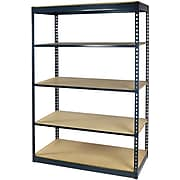 "Storage Concepts Office Shelving, Low Profile Boltless, 5 Shelves with Particle Board, 84""H x 36""W x 24""D"