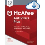 McAfee AntiVirus Plus for 10 Devices for Windows (1-10 Users), Download (67DV3RYATRCNN5B)