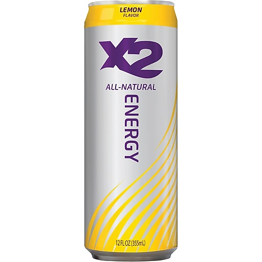X2 All Natural Energy Drink, Lemon, 12 oz. Cans, 12/Pack