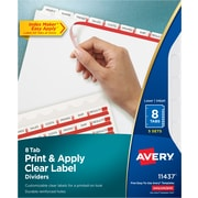 Avery® Index Maker® Easy Apply™ Clear-Label Dividers, White, 8-Tab, 5 Sets/Pack