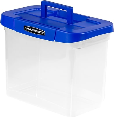 Bankers Box Heavy-Duty Plastic Portable File Storage Boxes with Organizer Lid Compartment, Letter Size (0086301)