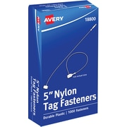 "Avery Nylon Tag Fasteners, Clear, 5"", 1000/Bx (18800)"