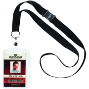 """Durable Single Closed ID Card Holder with Necklace, Black, 17"""" Length, 10/Bx"""