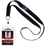 """Durable Single Closed ID Card Holder with Necklace, Black, 17"""" Length, 10/Box (8268-19)"""