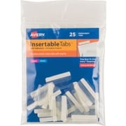 """Avery® Self-Adhesive Plastic Tabs with Printable Inserts, 1"""" Clear"""
