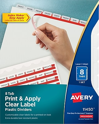 Avery Print & Apply Clear Label Translucent Plastic Dividers, Index Maker, 8 Frosted Tabs (11450)
