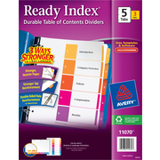 "Avery Ready Index® Table of Contents Dividers, 1-5 Tab, Multicolor, 8 1/2"" x 11"", 3/Pk"
