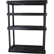 "Gracious Living Heavy Duty Adjustable Shelving Unit, 4 shelf, Black, 54""H (91075MAXIT-1C)"