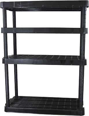 Gracious Living Heavy Duty Adjustable Shelving Unit, 4 shelf, Black, 54