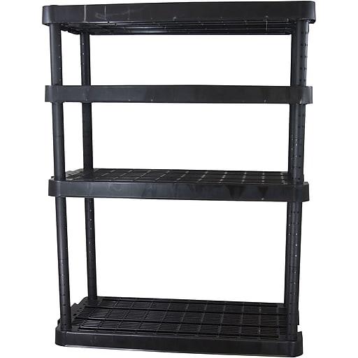 "Gracious Living Heavy Duty Adjustable Shelving Unit, 4 shelf, Black, 54""H (91075MAXIT-1C)"