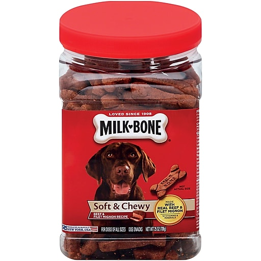 Milk Bone Soft and Chewy Beef and Filet Mignon Recipe Dog Treats, 25oz (SMU50960)