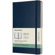 2018-2019 Moleskine Academic Weekly Large Hard Cover Notebook Planner, 18 Months, Sapphire Blue (MSK716427)