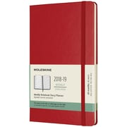 2018-2019 Moleskine Academic Weekly Large Hard Cover Notebook Planner, 18 Months, Scarlet Red (MSK716342)