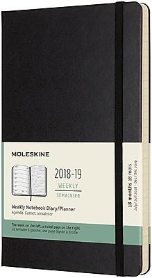 2018-2019 Moleskine Academic Weekly Large Hard Cover Notebook Planner, 18 Months, Black (MSK716328)