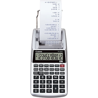 four function calculator canon® hand held calculators 12 digit portable printer display p1