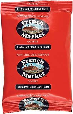 French Market Authentic New Orleans Dark Roast Coffee Arabica Beans 40 Pack, 2 oz Each (281827)