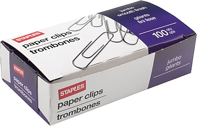 Staples® Jumbo Paper Clips, Smooth, 100/Box