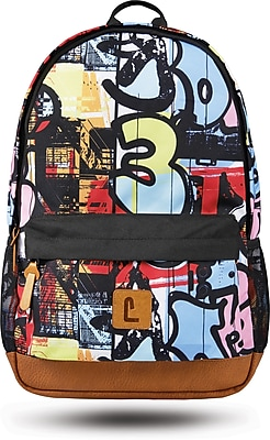 "Staples Dalton 18"" Backpack, Graffiti Pattern, 5.51""W x 17.71""H x 11.81""D (52410)"