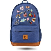 "Staples Dalton 18"" Backpack, Denim with Patches, 5.51""W x 17.71""H x 11.81""D (52412)"
