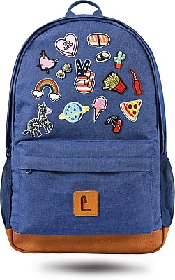 """Staples Dalton 18"""" Backpack, Denim with Patches, 5.51""""W x 17.71""""H x 11.81""""D (52412)"""
