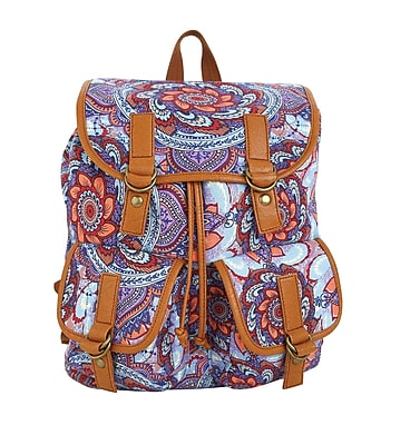 "Staples Windsor Backpack, Floral Purple Pattern, 6.69""W x 14.96""H x 11.81""D (52428)"