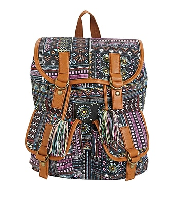 """Staples Windsor Backpack, Print Pattern with Tassel, 6.69""""W x 14.96""""H x 11.81""""D (52427)"""