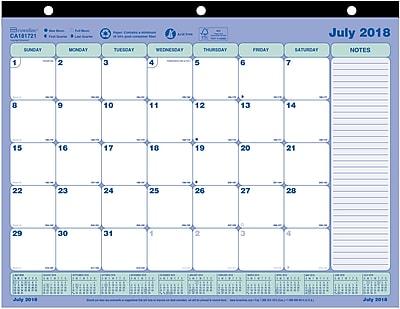 2018-2019 Blueline® Academic Monthly Mini Desk Pad Calendar, 13 Months, 11
